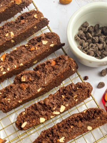 Chocolate Almond Brownie Biscotti