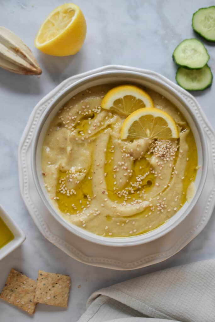 Top the roasted garlic and eggplant dip with Olive oil and sesame seeds for crunch