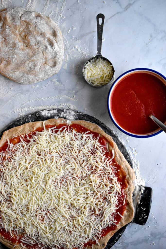 bake the pizza dough