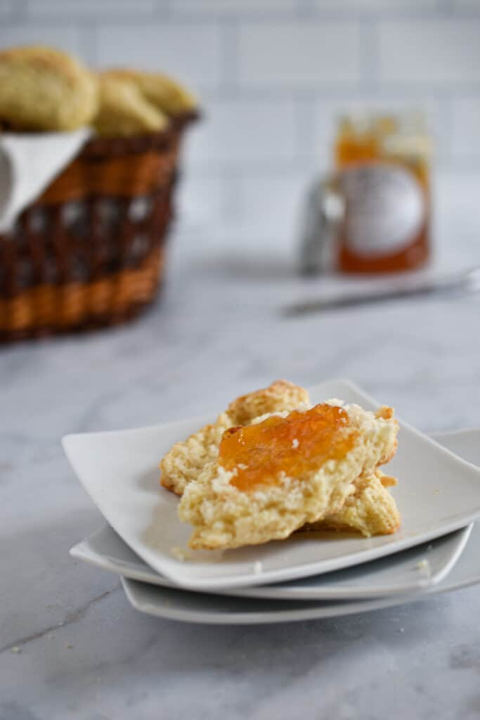 Top the sourdough discard scones with your favorite jam and butter