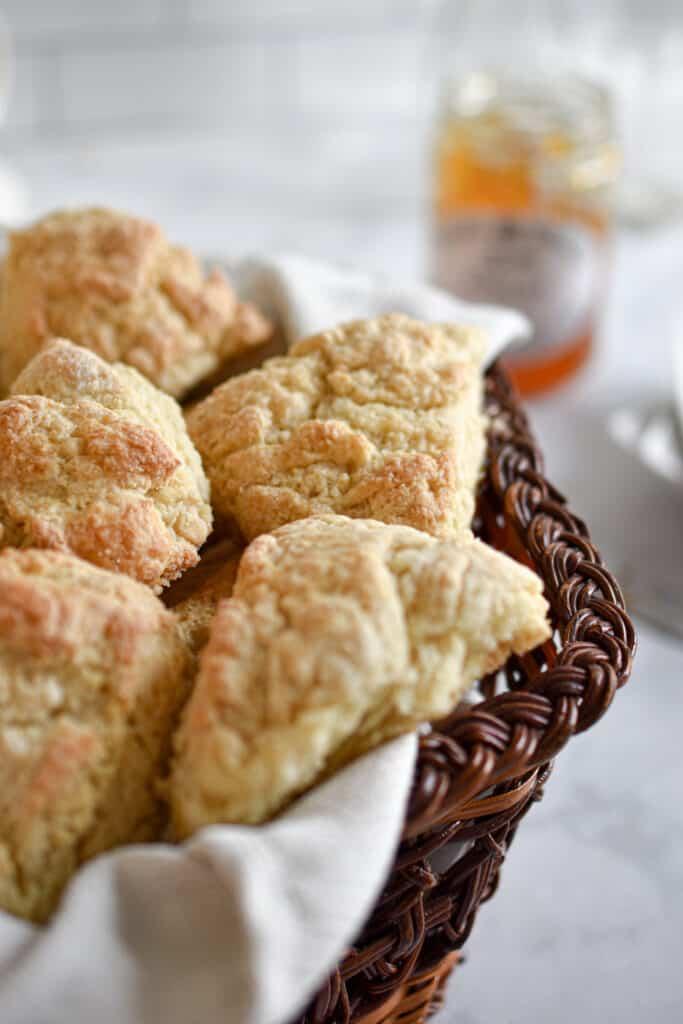 Mini Sourdough Discard scones laid out in a basket