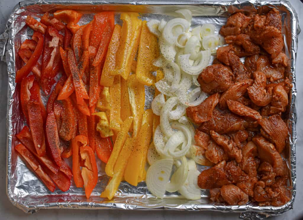 Bake all the ingredients on an aluminum foil lined baking sheet