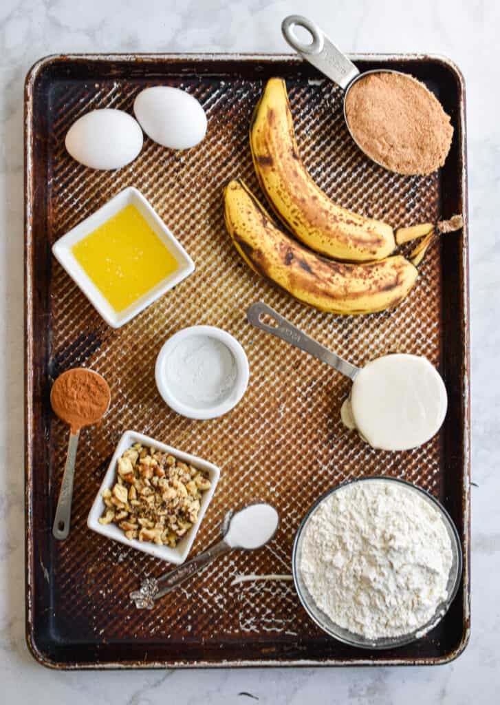 Ingredients for Sourdough Discard Banana Muffins