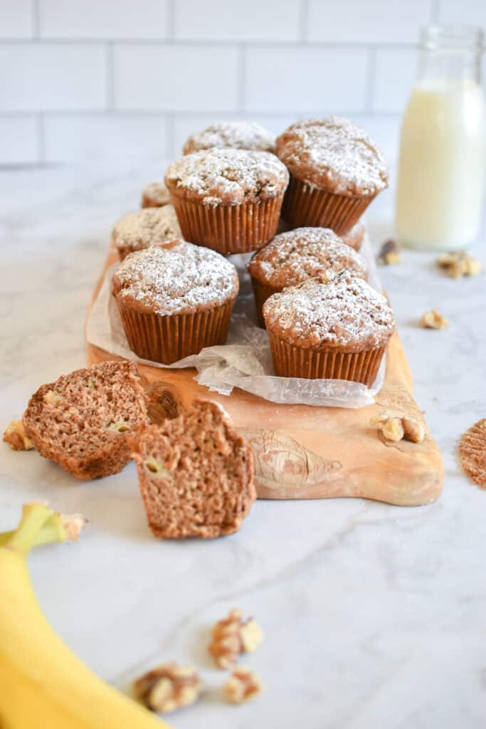 The crumb of the sourdough discard banana muffins