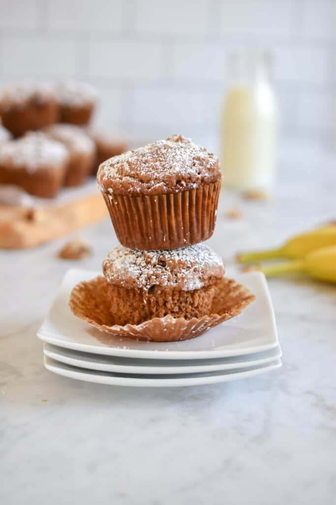 stacked sourdough discard banana muffins