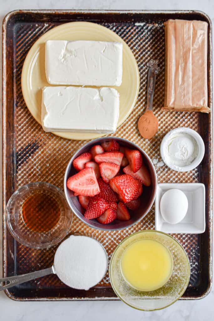 Ingredients in strawberry swirl cheesecake bars