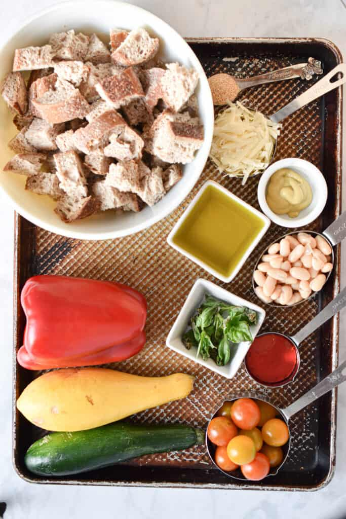 Ingredients for Roasted Vegetable Panzanella