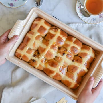Cinnamon Hot Cross Buns are best served with tea or coffee