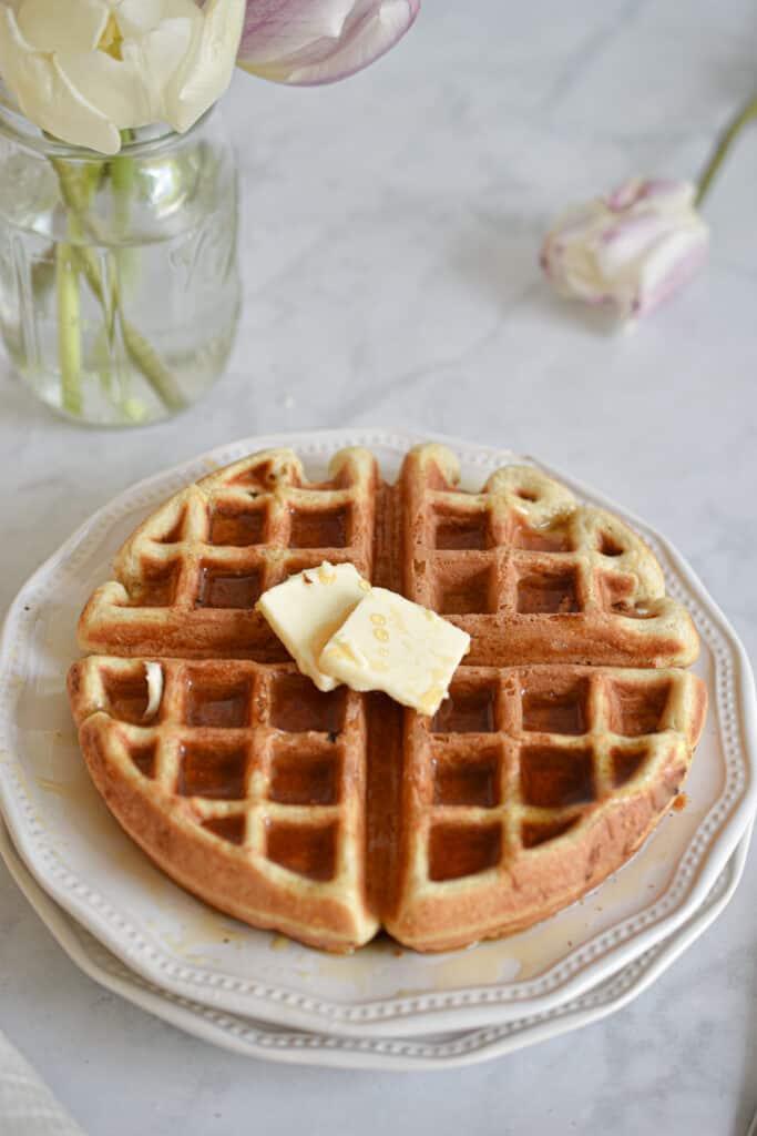 quick sourdough waffles