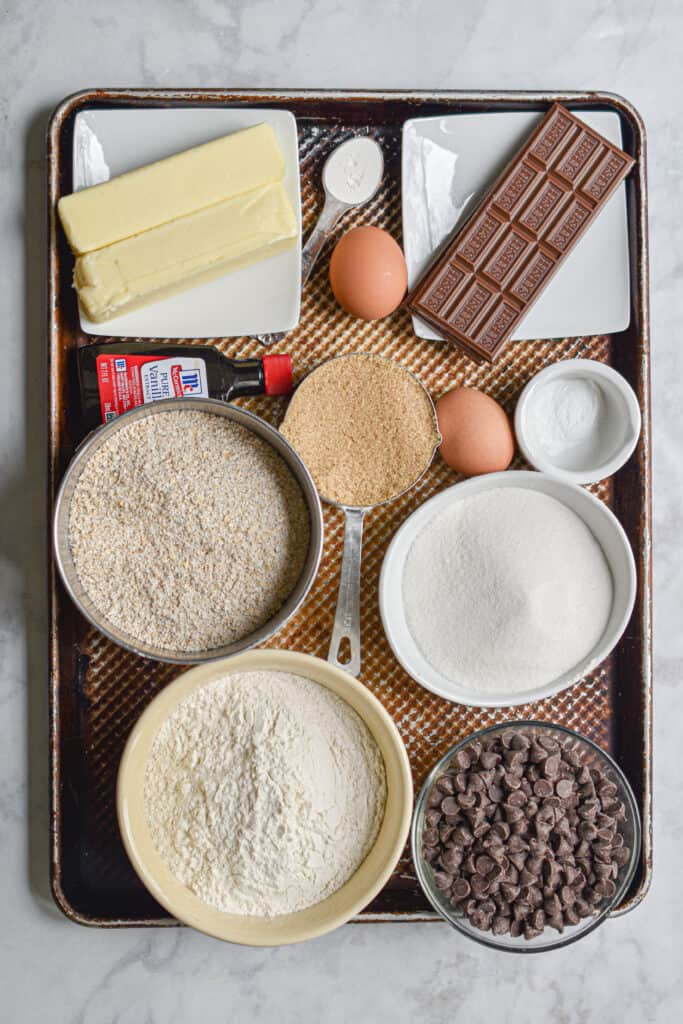 All the ingredients for double chocolate oatmeal cookies