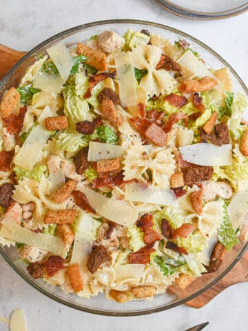 close up shot of the chicken and bacon caesar pasta salad