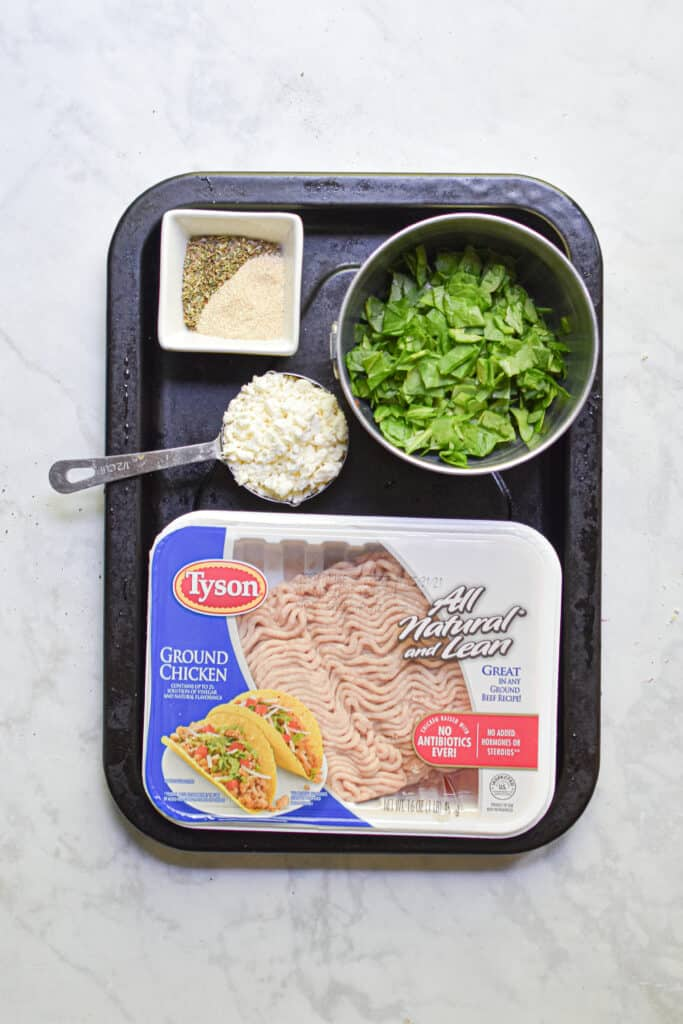 Ingredients for the Chicken burgers with feta and spinach