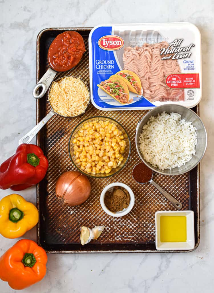 Ingredients for the tavo stuffed peppers
