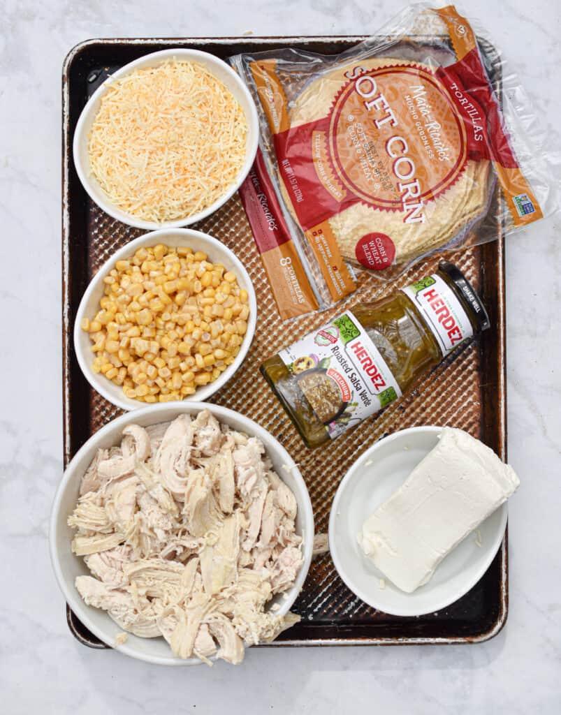 Ingredients for the salsa verde chicken bake