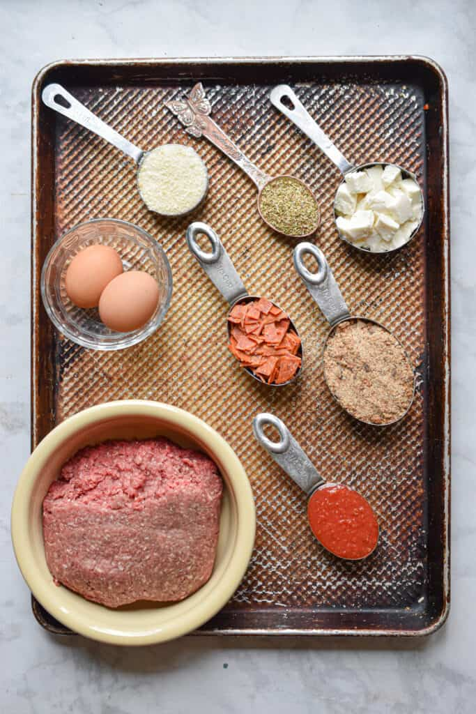 Ingredients for pepperoni pizza meatballs
