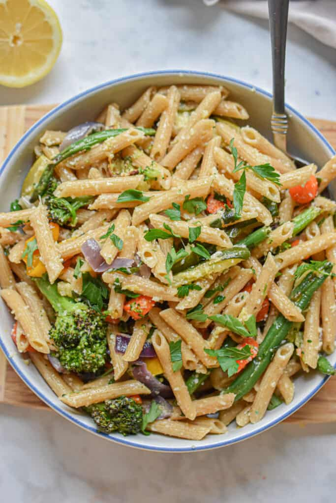 Close up of whole wheat pasta primavera
