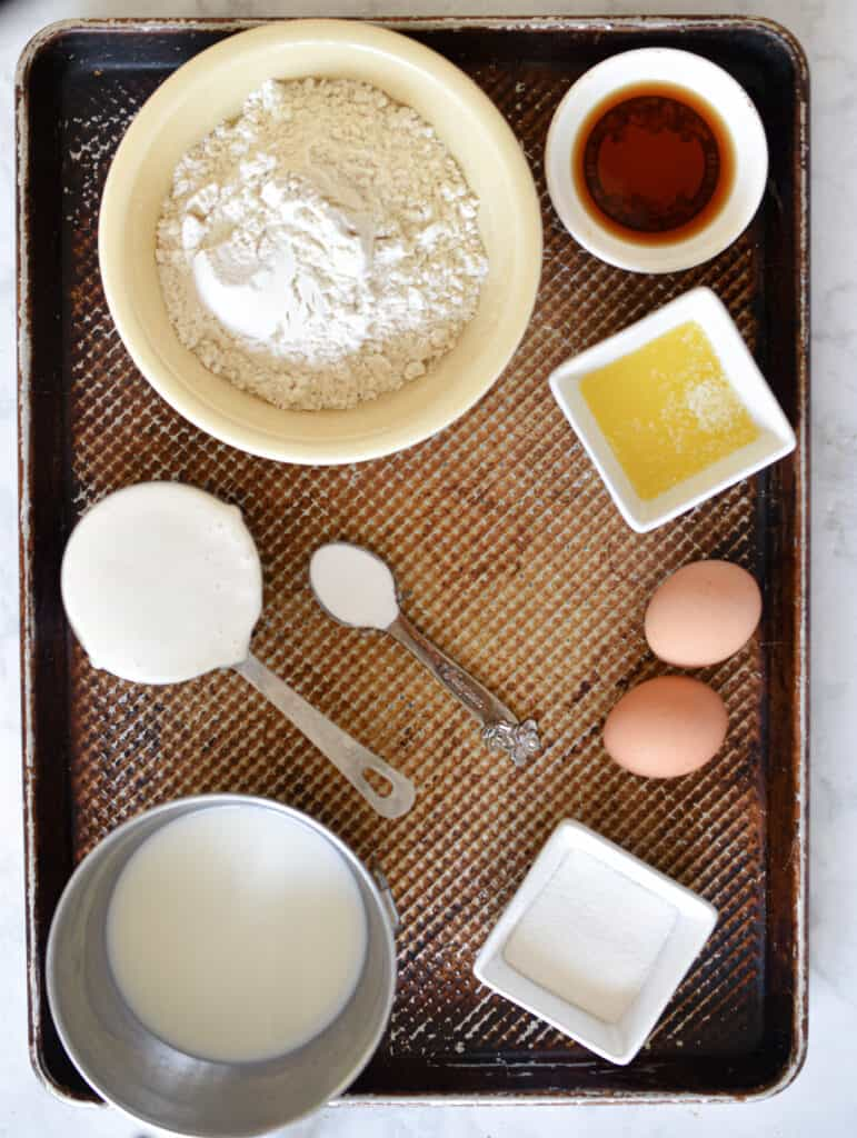 Ingredients for quick sourdough waffles