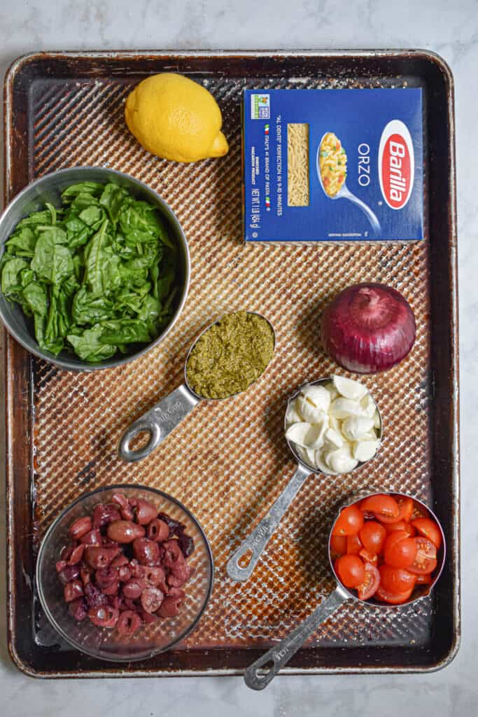 Ingredients for the Orzo Pesto Pasta Salad