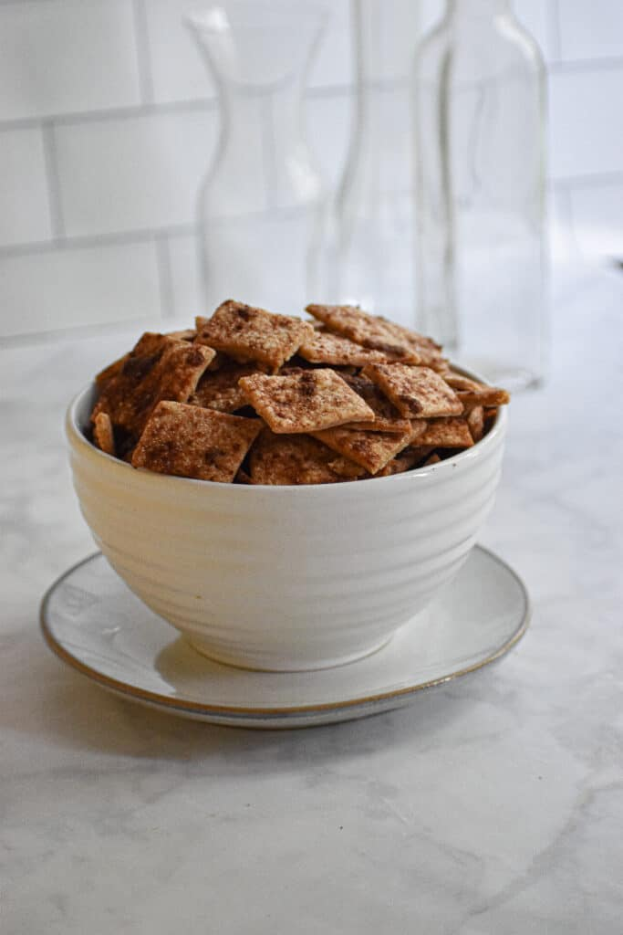 cinnamon sugar sourdough crackers in a large bowl