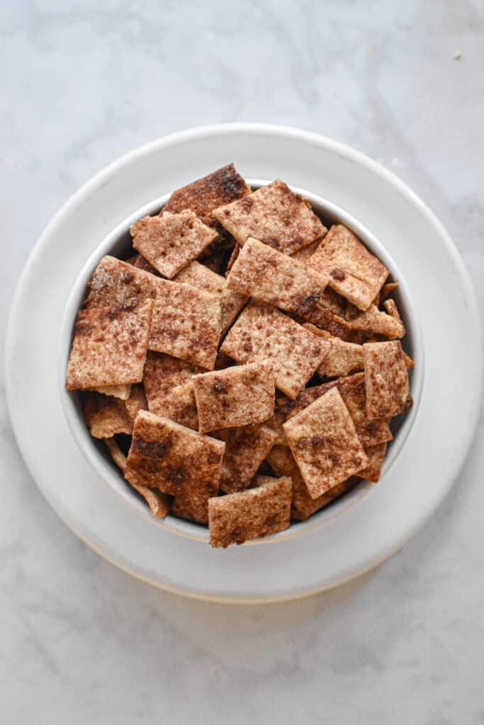 overhead shot of cinnamon sugar sourdough crackers
