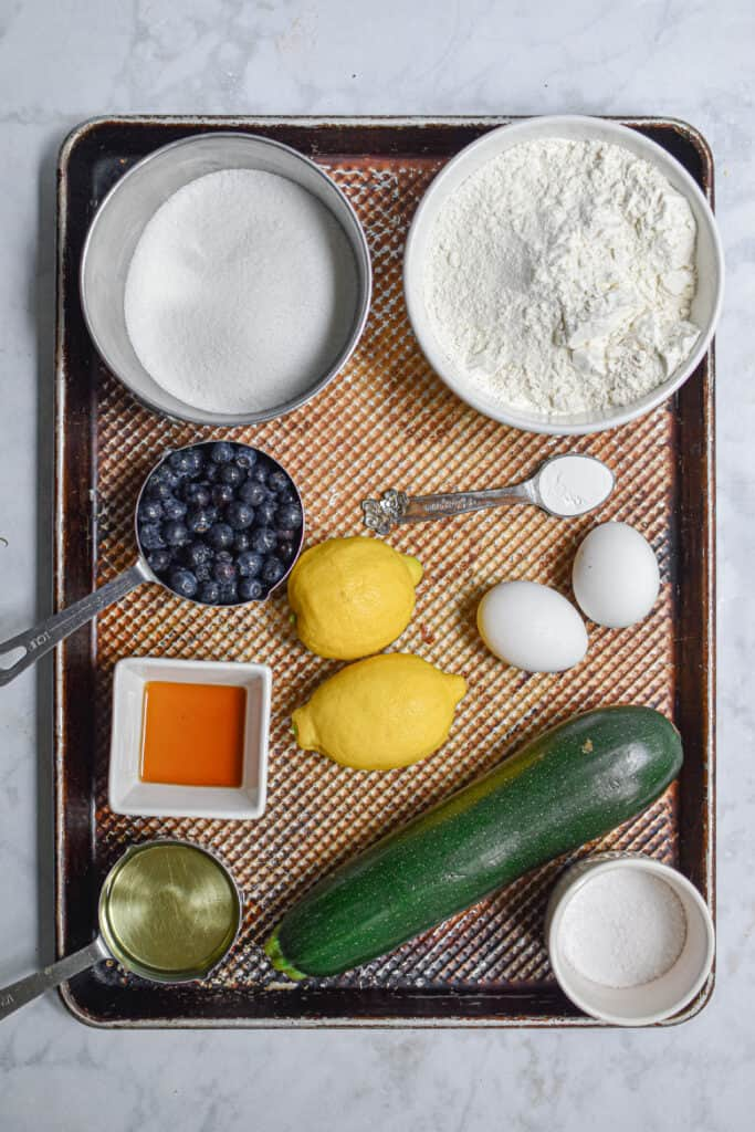 Ingredients for the Lemon and blueberry zucchini bread with lemon icing