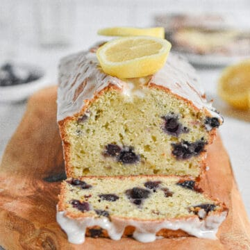 A close up of the texture of the Lemon and blueberry zucchini bread with lemon icing