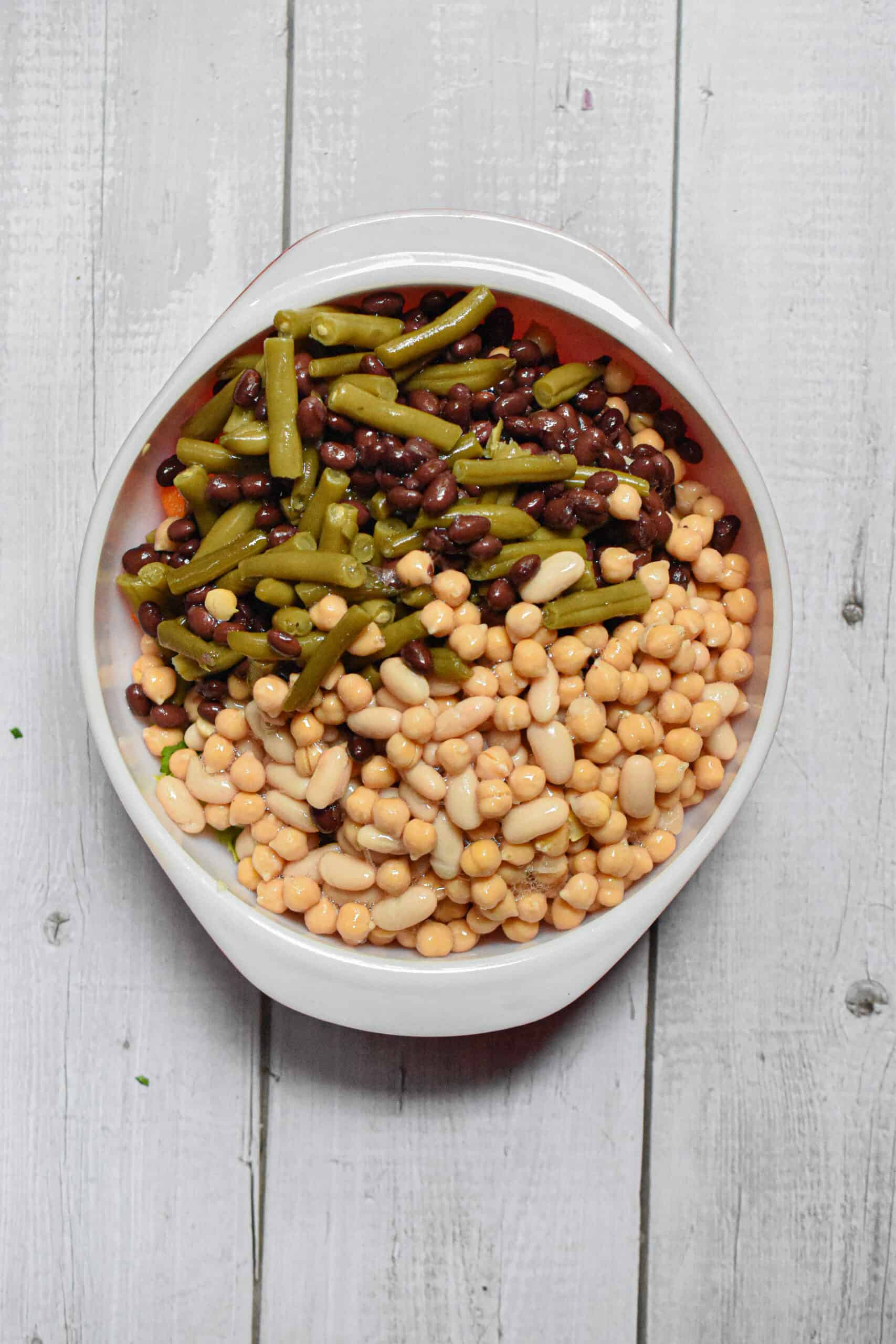 The beans are added to the 10 minute four bean salad