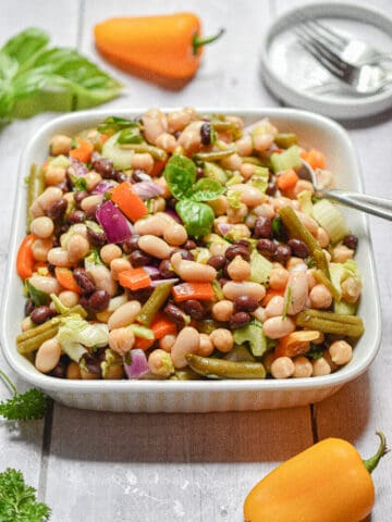 A close up of the 10 minute four bean salad