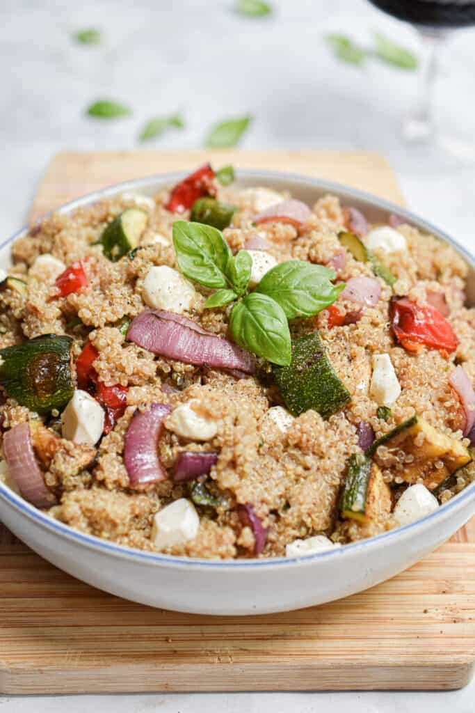 a close up of the grilled vegetable quinoa salad