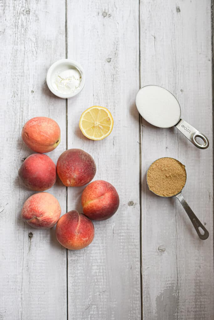 Ingredients laid out on a white wooden background