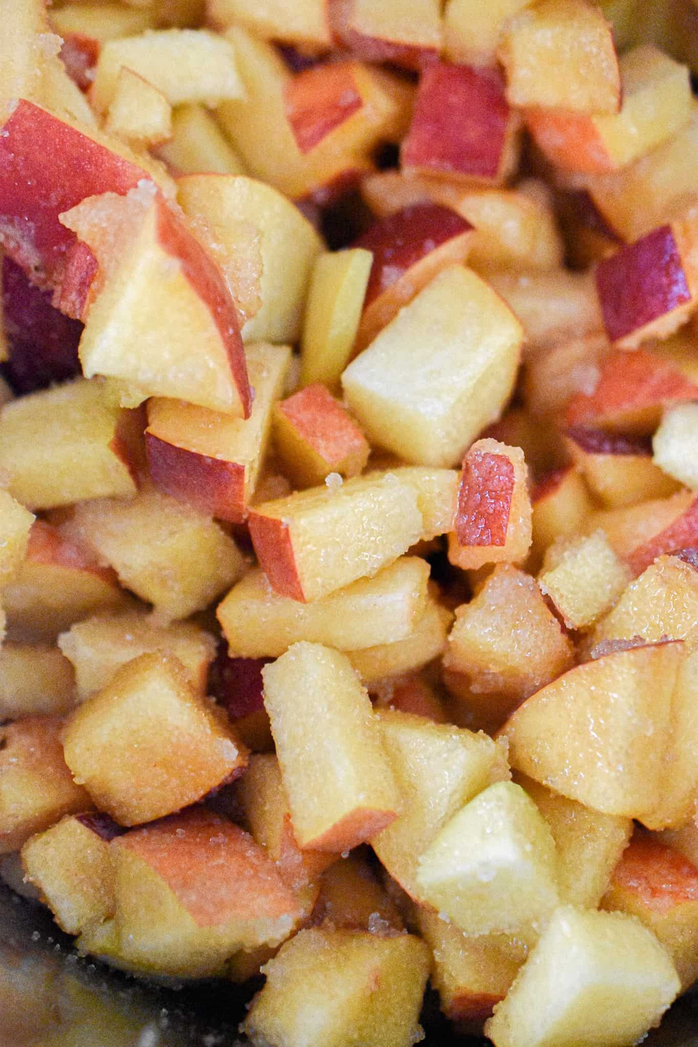 A close up of the chopped peached in the Instant Pot