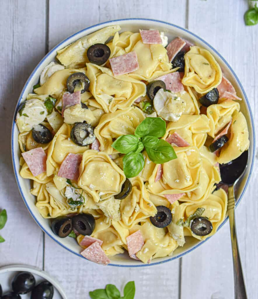 An overhead shot of the 10 minute tuscan tortellini salad