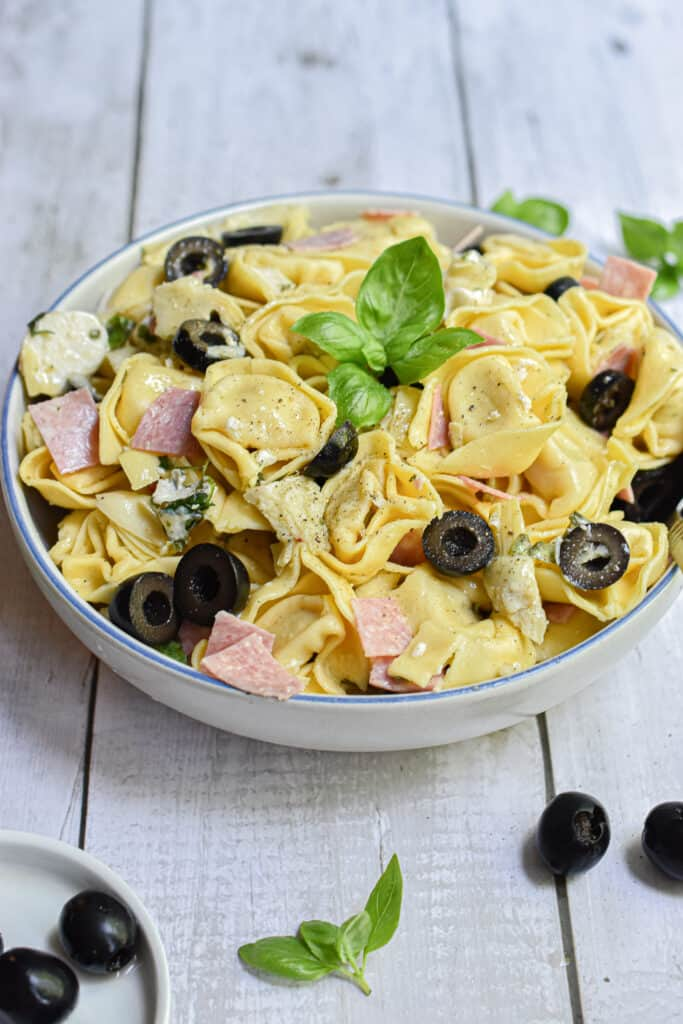 a straight on shot of the tortellini salad