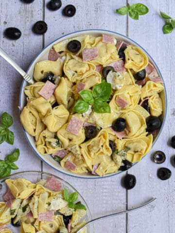 a small plate of salad is served with the large bowl of 10 minute tuscan tortellini salad