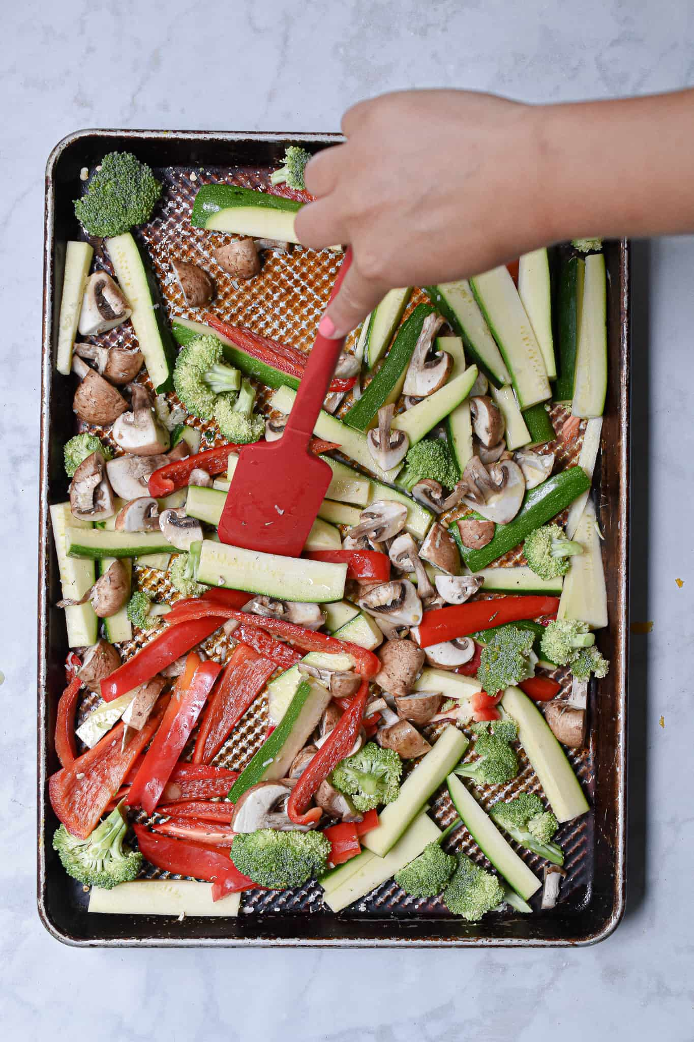 Mix the vegetables to combine the ingredients
