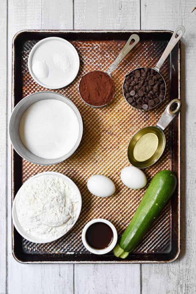 The ingredients for the death by chocolate zucchini bread laid out