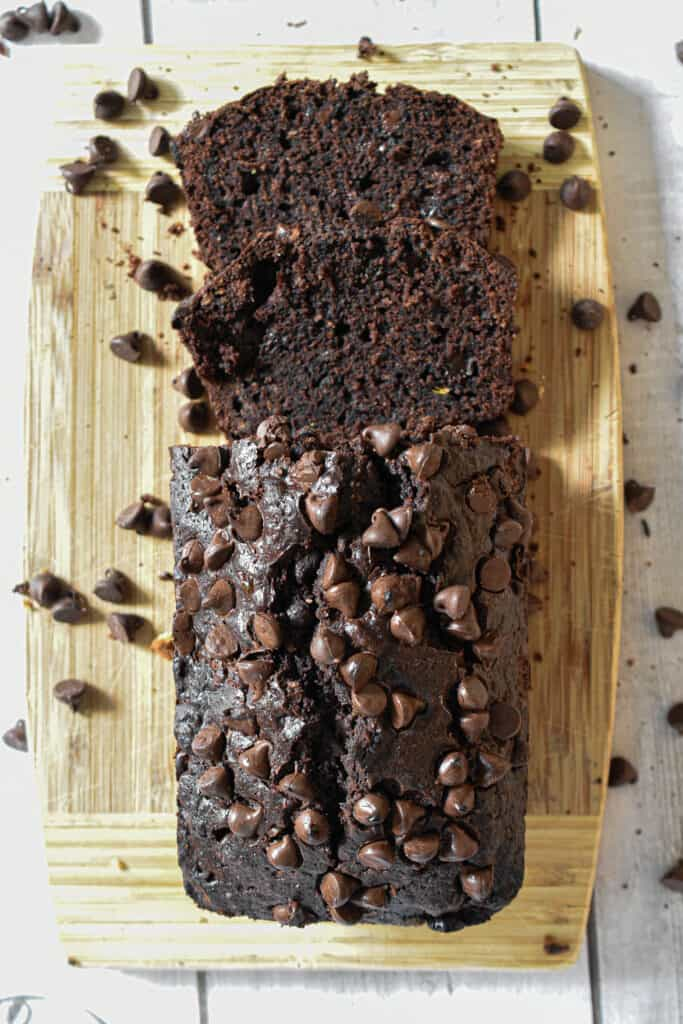 An overhead shot of the death by chocolate zucchini bread
