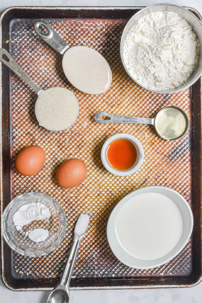 Ingredients for the baked sourdough doughnuts