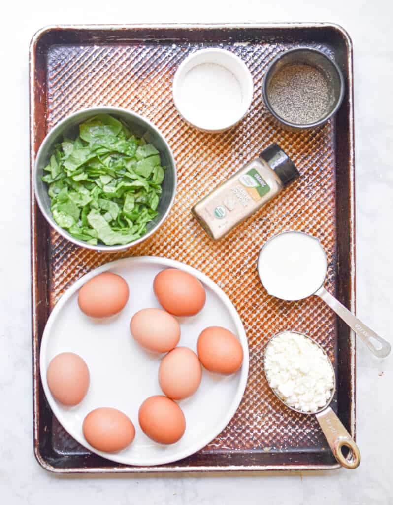 Ingredients for the Spinach and Feta Egg Bites