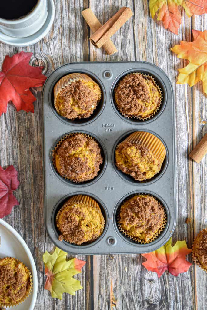 An overhead view of the pumpkin sourdough muffins