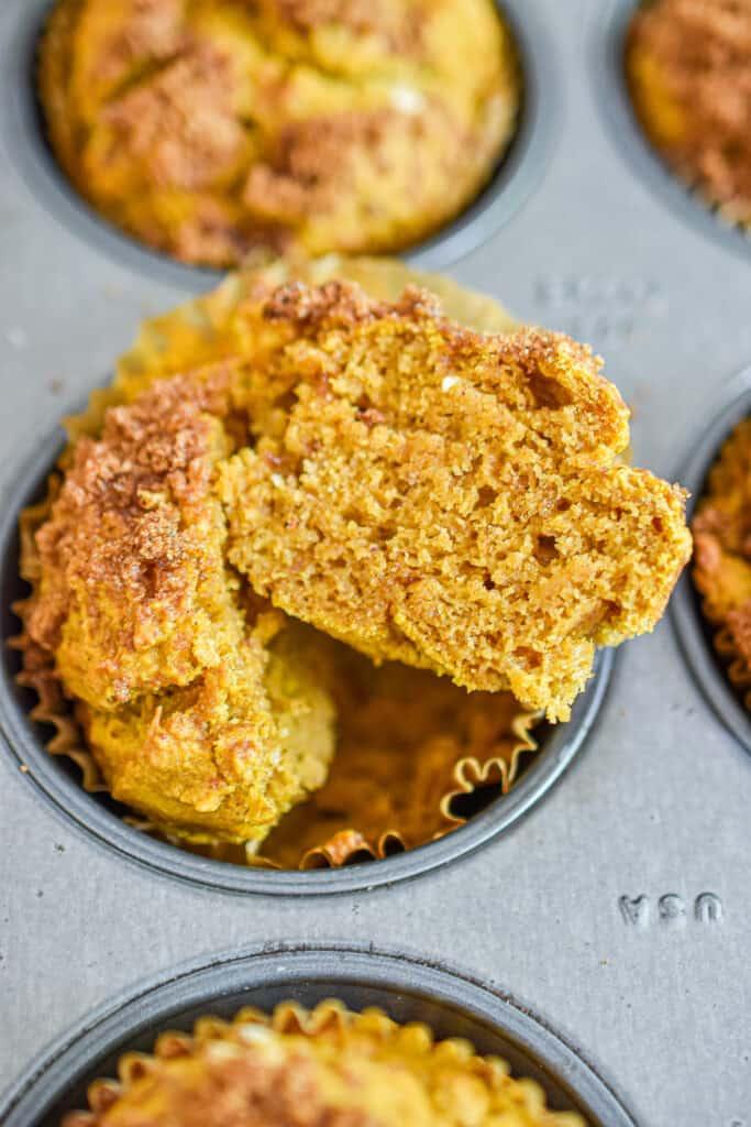 A interior shot of the pumpkin sourdough muffins