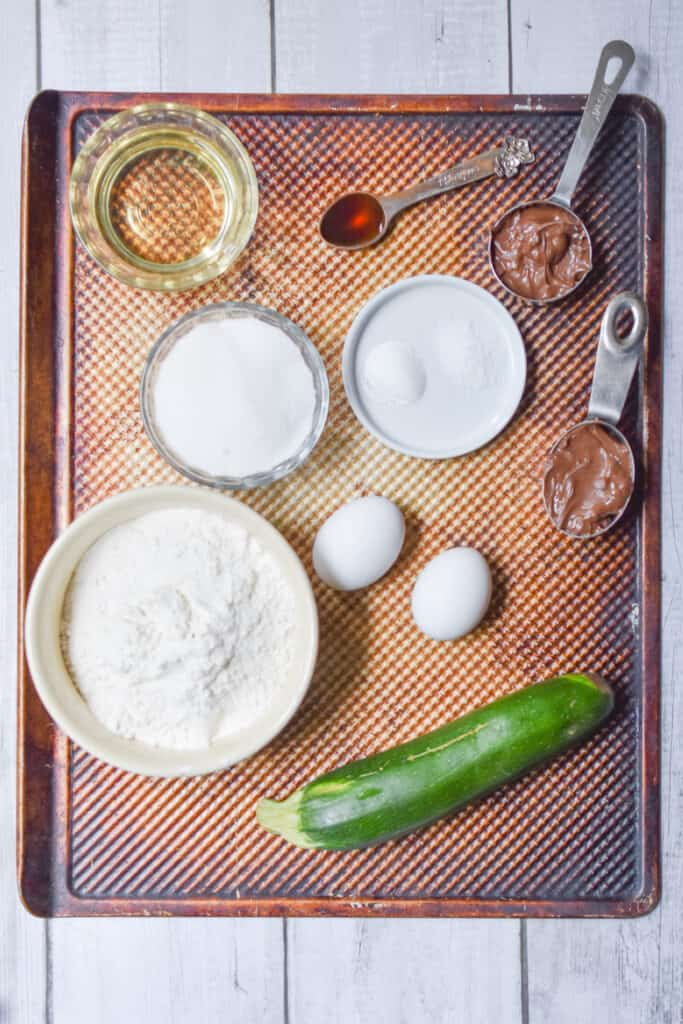 Ingredients for the nutella zucchini bread