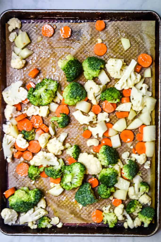 An overhead view of the vegetables ready to go into the oven