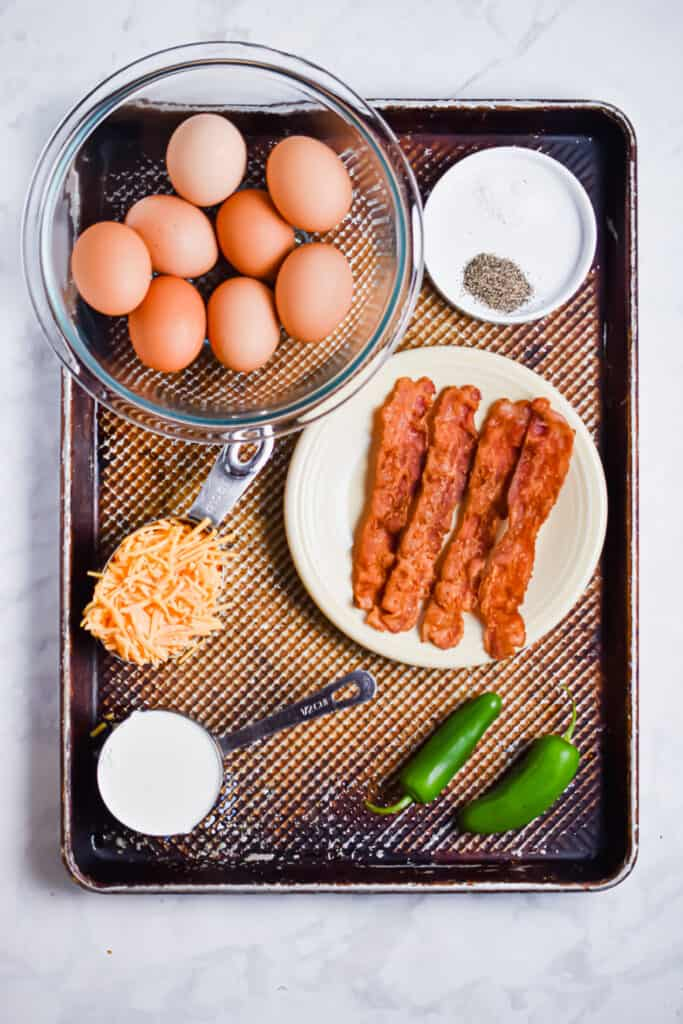 Ingredients for the jalapeno popper egg cups