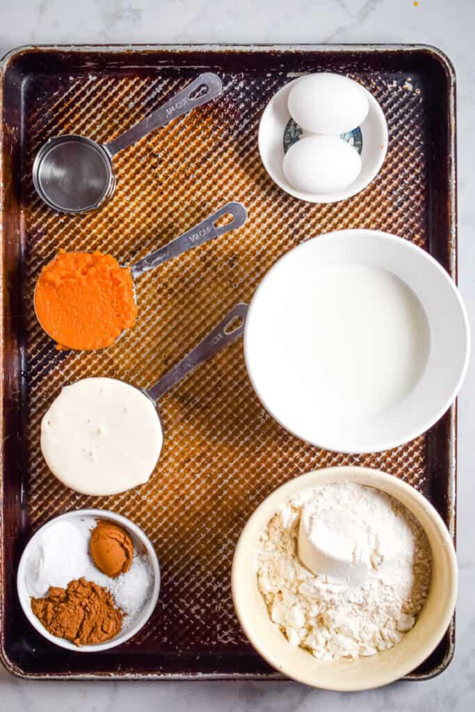 Ingredients for the pumpkin sourdough waffles