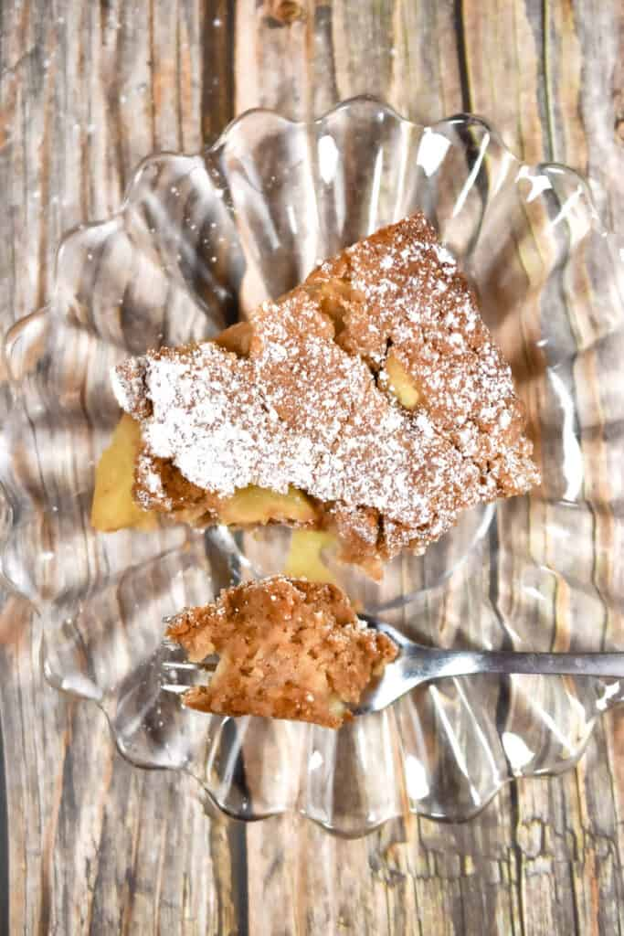 An overhead shot of the apple cake