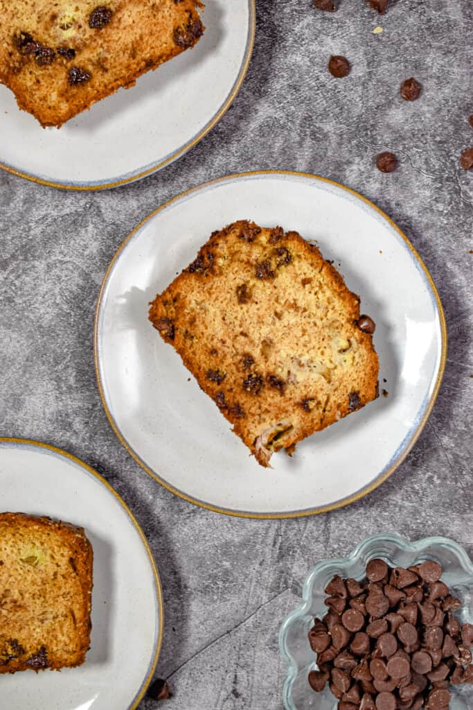 An overhead shot of slices of the one bowl chocolate chip banana bread