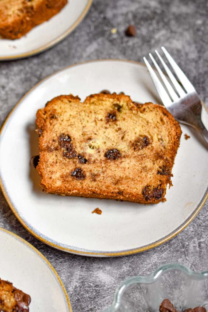 An overhead shot of a slice of one bowl chocolate chip banana bread