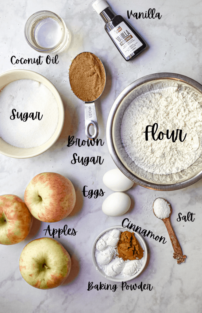 Ingredients for the all in one apple cake