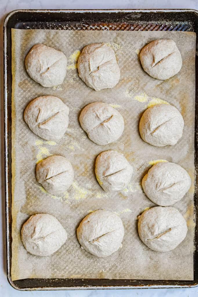 An overhead shot of twelve sourdough dinner rolls ready to be baked